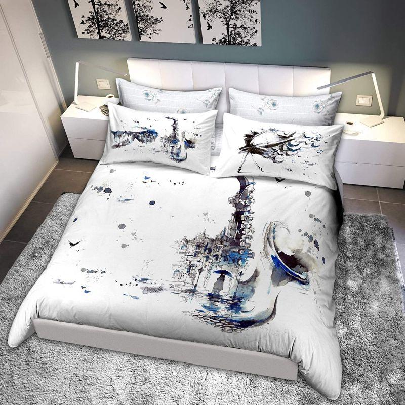 Parure Copripiumino letto piazza e mezza Cogal Graphic Time 1853 Blu Nebbia