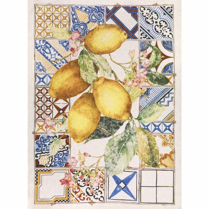 Strofinaccio Azulejos - Limone Cotone Cm. 50X 70
