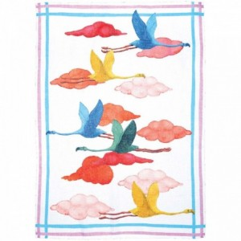 Strofinaccio Flamingo Volo Bianco Cm. 50X 70