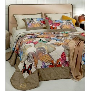 Trapuntino Quilt letto matrimoniale in Raso Borbonese Butterfly Marrone