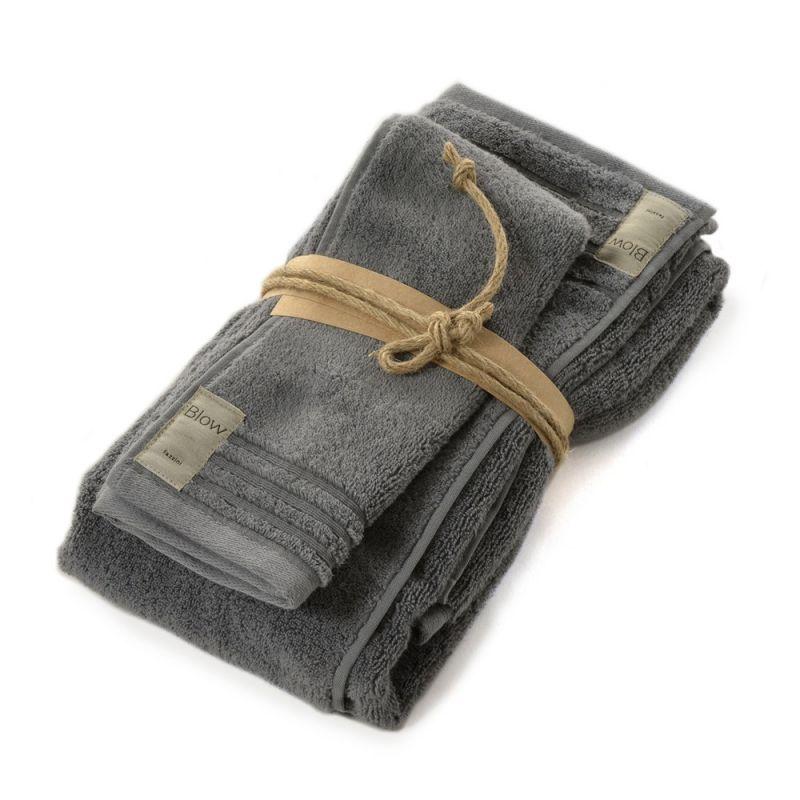 Coppia asciugamani bagno  1+1 Fazzini Coccola - Piombo