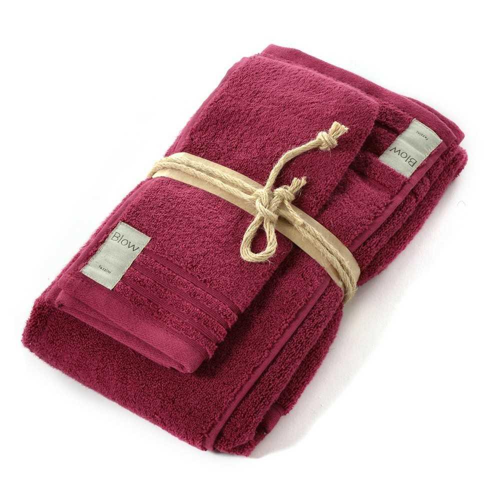 Coppia asciugamani bagno 1+1 Fazzini Coccola - Rubino