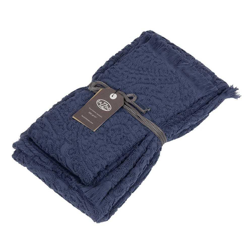 Set asciugamani bagno 1+1 Fazzini Dafne - Blu Quetzal