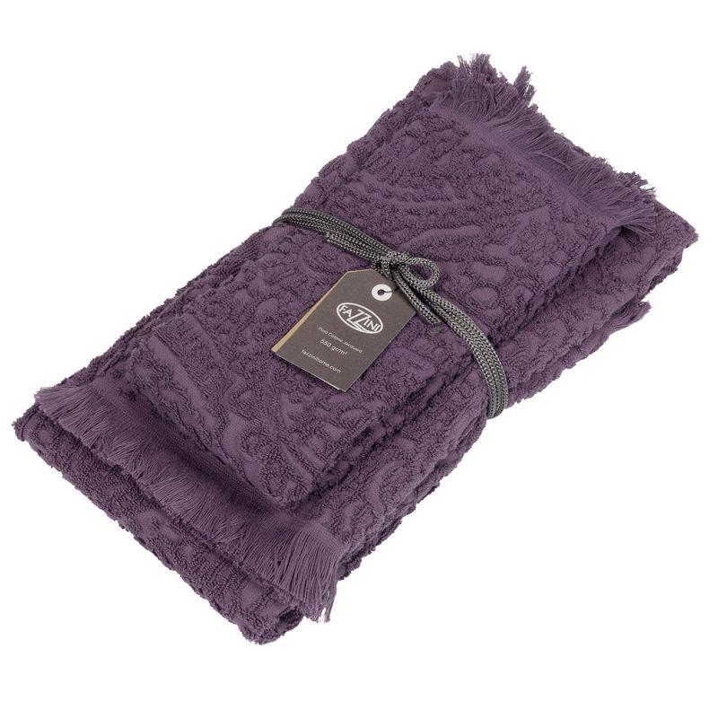 Set asciugamani bagno 1+1 Fazzini Dafne - Melanzana