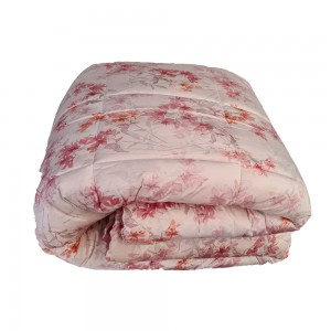 Quilt for Double Bed in velvet Riviera Flora - Pink lotus...