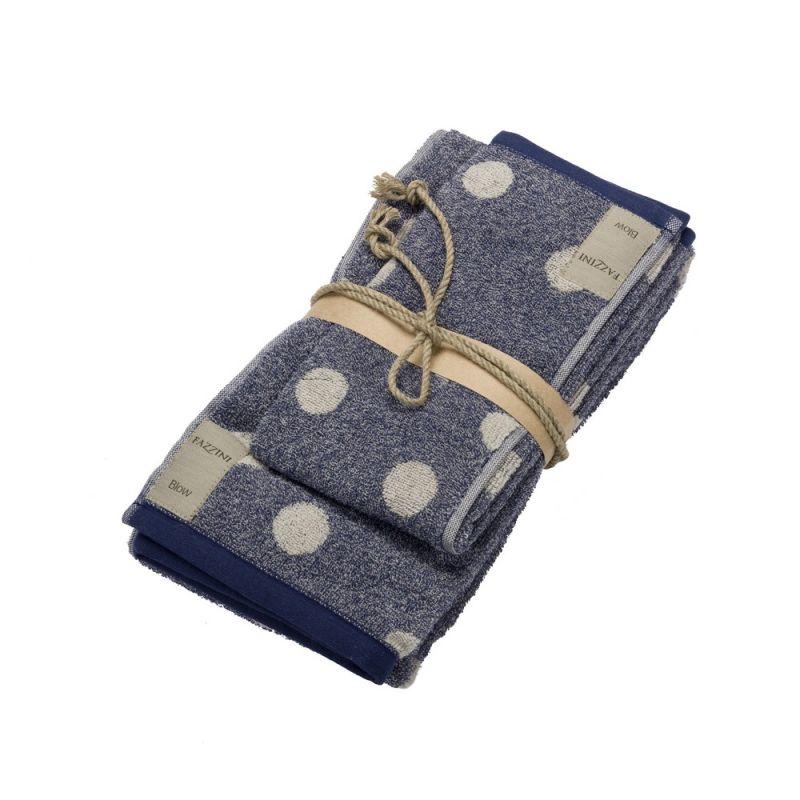 Coppia asciugamani bagno 1+1 Fazzini Pois - Blu