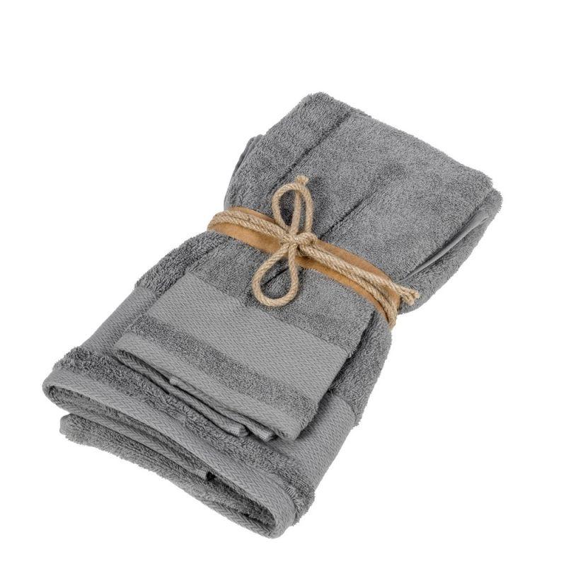 Coppia asciugamani ospite + asciugamano Fazzini Losanghe colore Piombo
