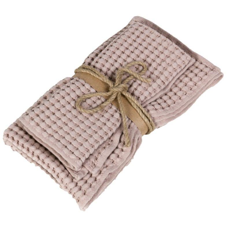 Coppia asciugamani ospite + asciugamano Fazzini Nettare colore Rosa Boho